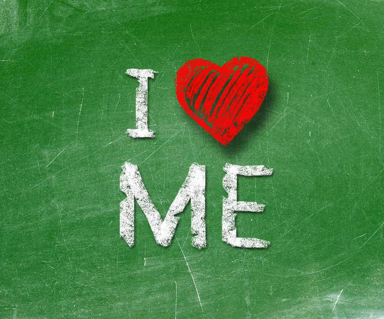 I love me phrase handwritten on blackboard
